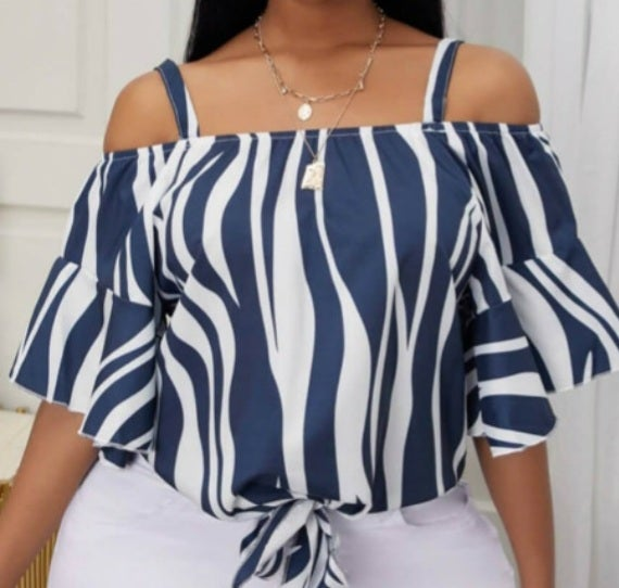 Image of CASUAL OFF THE SHOULDER FLARED STRIPPED BLUE BLOUSE
