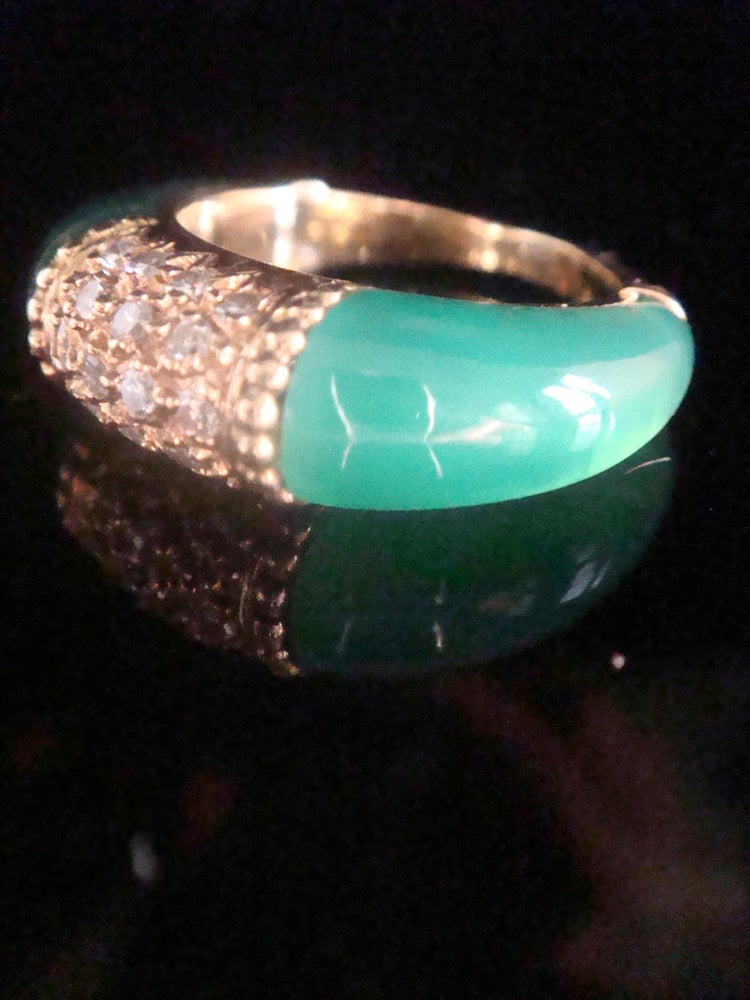 Image of VINTAGE 18CT FRENCH CHALCEDONY DIAMOND STYLE VAN CLEEF ARPELS PHILLIPINES RING