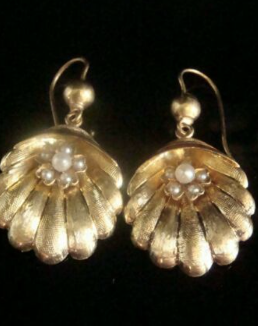 Image of ORIGINAL VICTORIAN HIGH CARAT 15CT LARGE SHELL CULTURED PEARL DROP EARRINGS