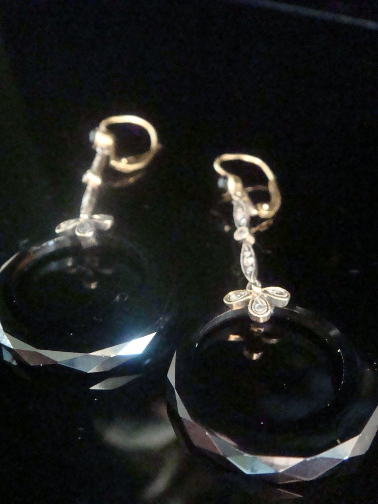 Image of ORIGINAL EDWARDIAN 18CT ONYX DIAMOND AND ROSE CUT DIAMOND BOW DROP EARRINGS