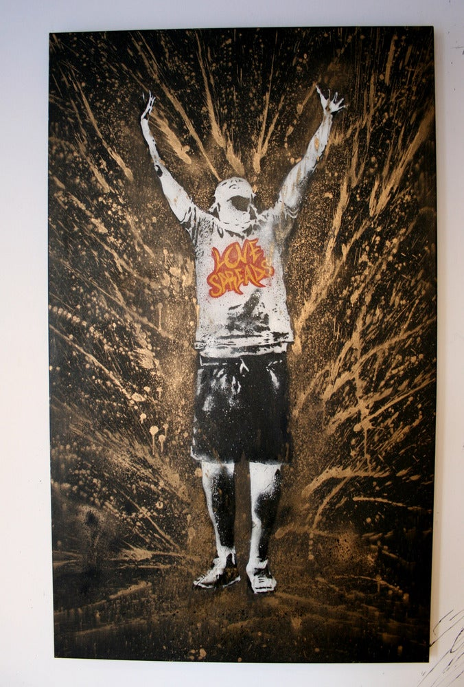 """Image of """"Love Spreads"""" - Gold. Original Canvas"""