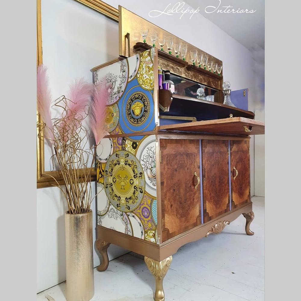 Image of Herkel Art deco gold cocktail cabinet