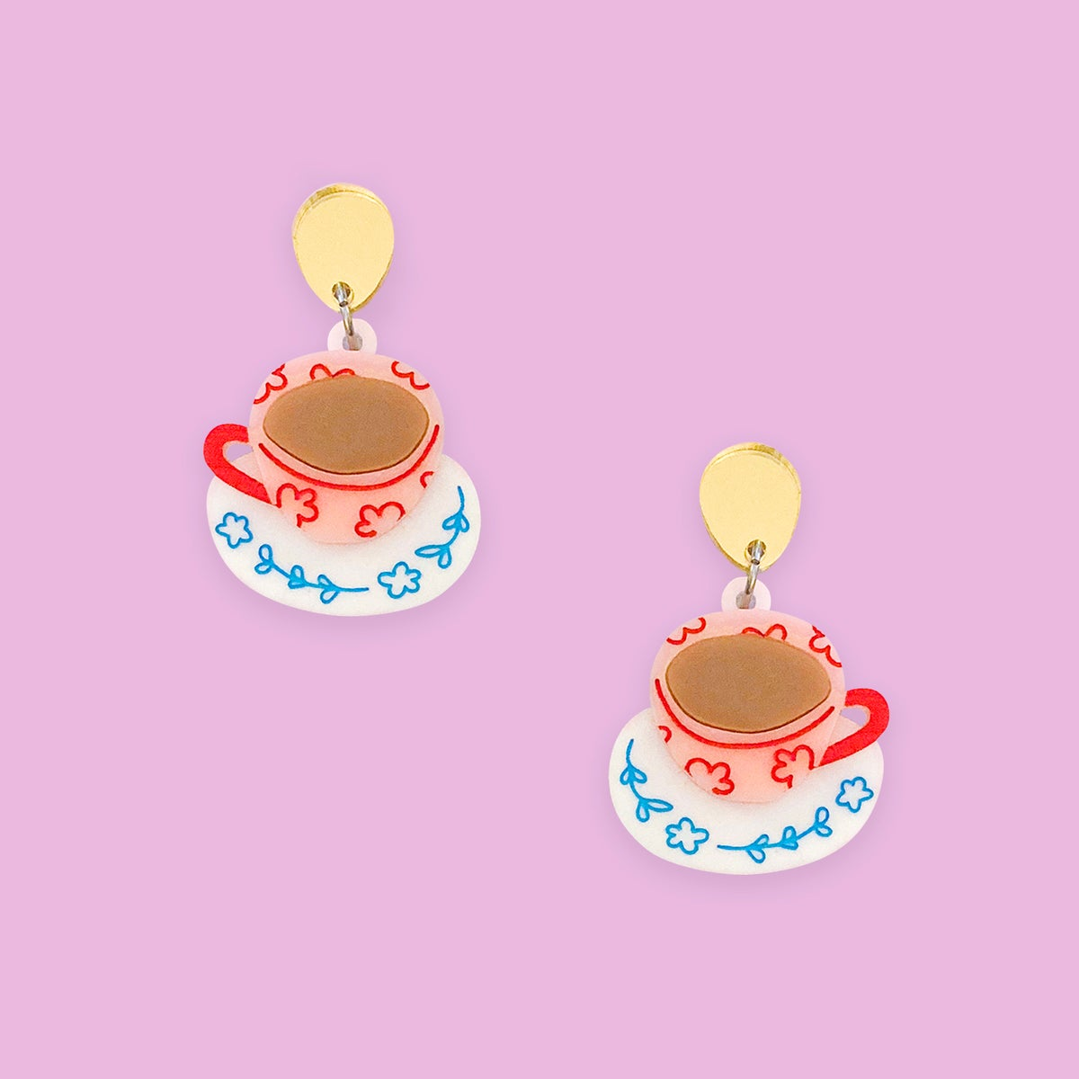 Image of Tea Cups (Peach-Pink/White/Gold)