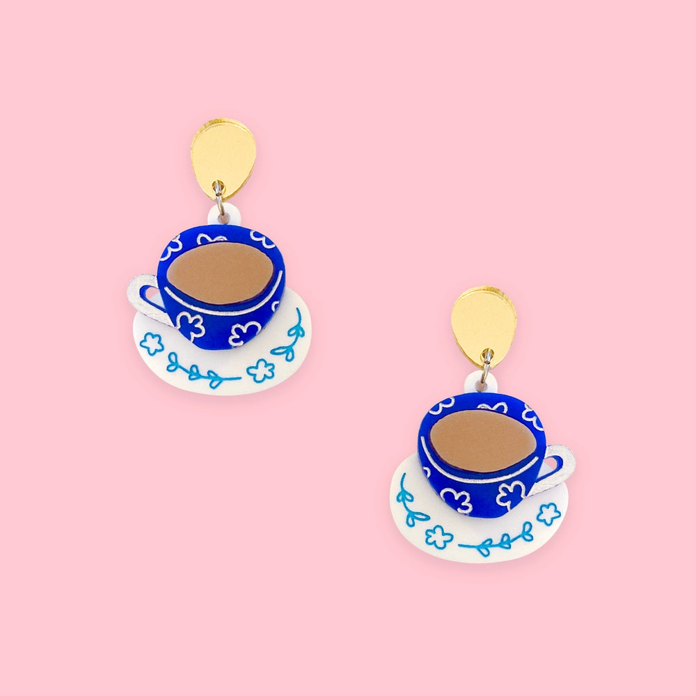 Image of Tea Cups (Lapis Blue/White/Gold)