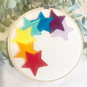 Image of Rainbow Star Hoop Art