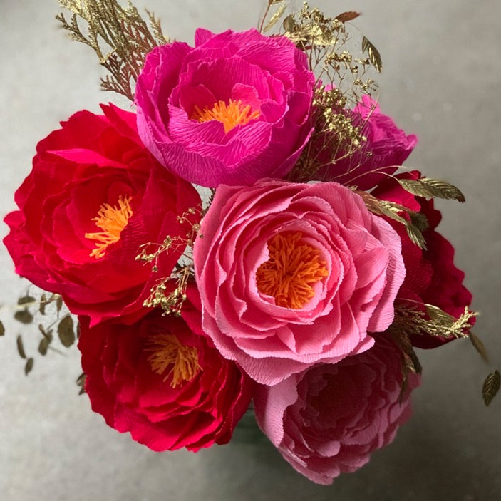 Image of Chinese New Year Collection - Peony with Gold foliage