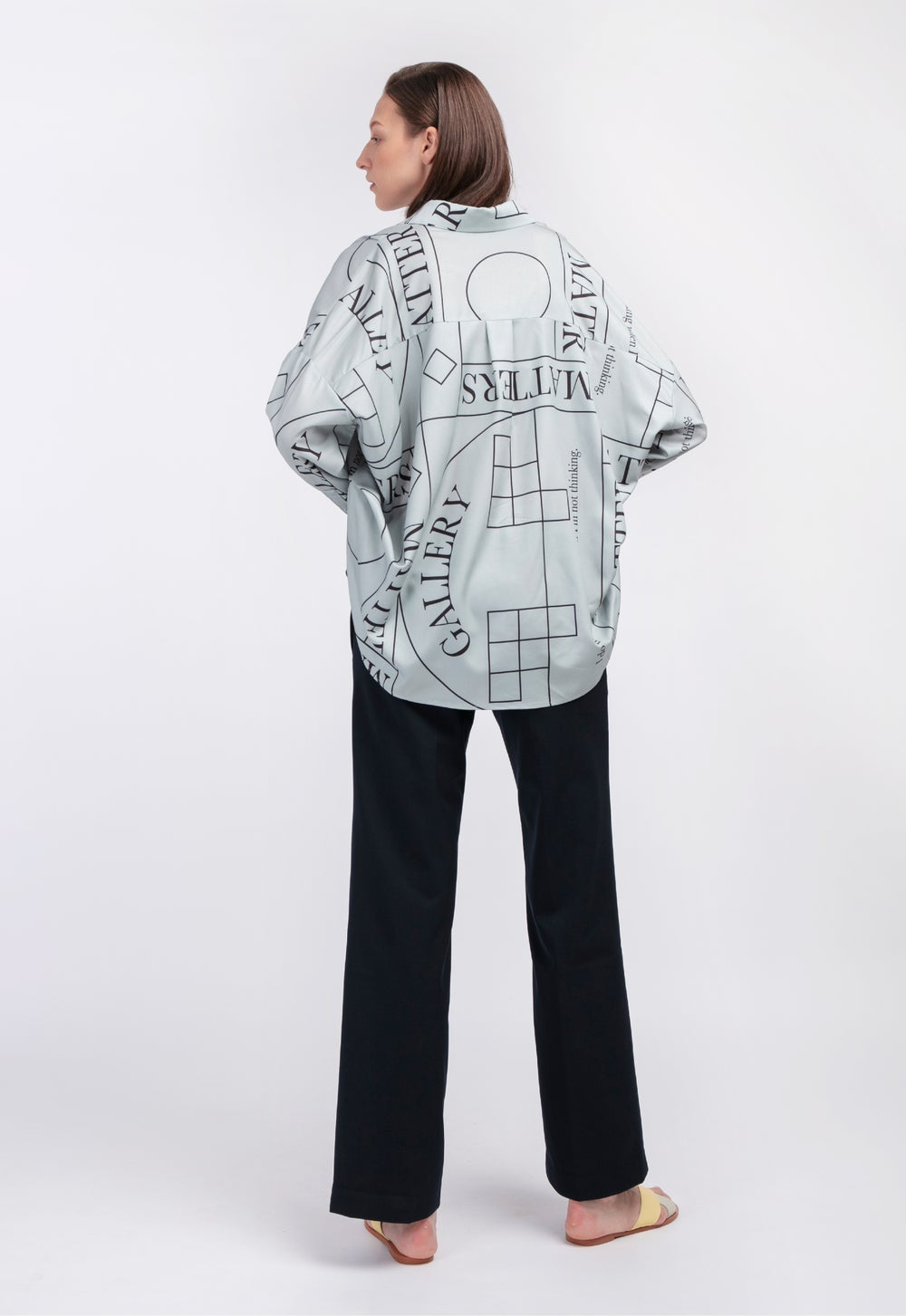 Loose Fit Capri Shirt with Pattern 'Not' / Grey