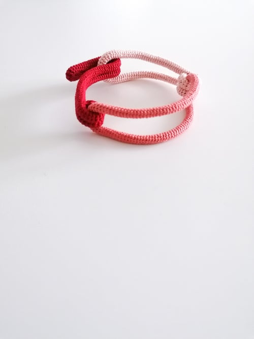Image of Contemporary Crochet Bracelet in Red, Pink and Salmon