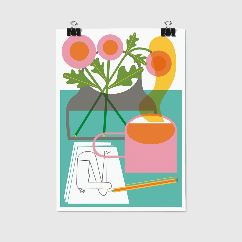 Image of Flowers + Tea – 12,2 x 17,6 cm