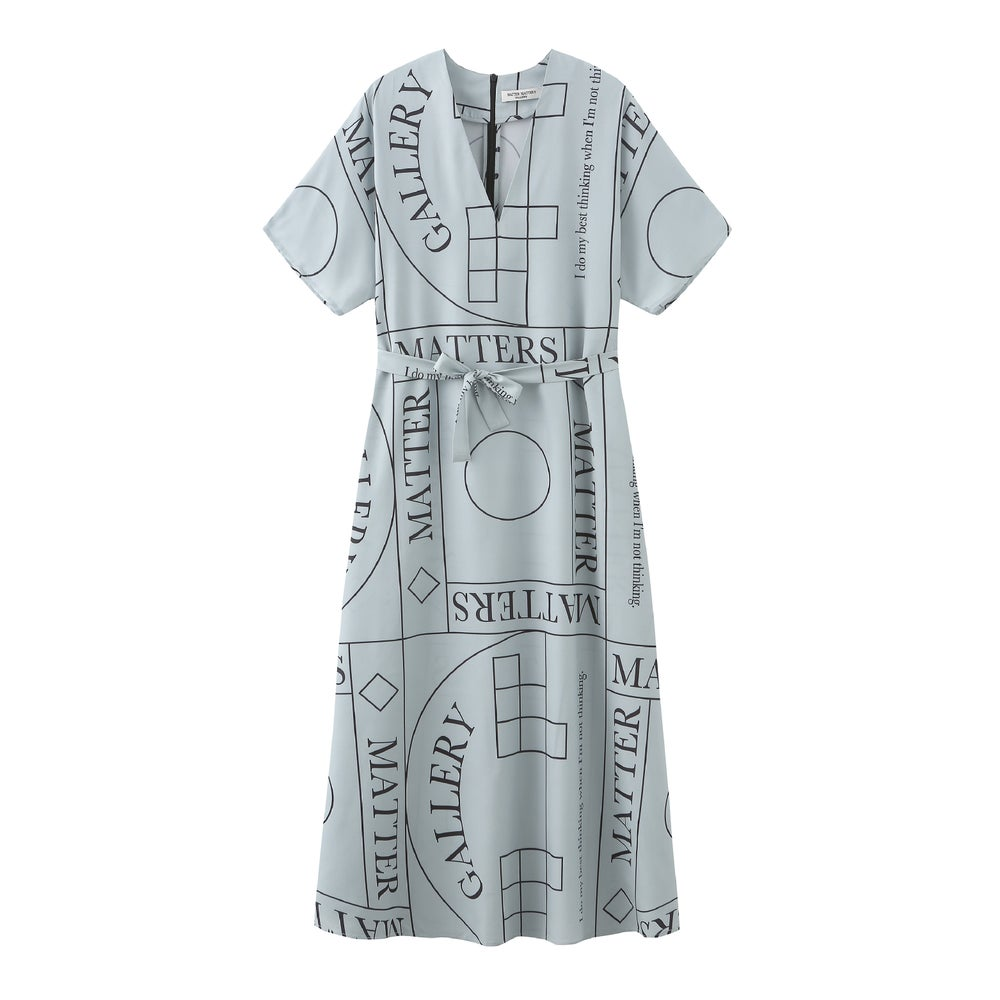 Short Sleeves V - Neck Dress with Pattern 'NOT' in Grey