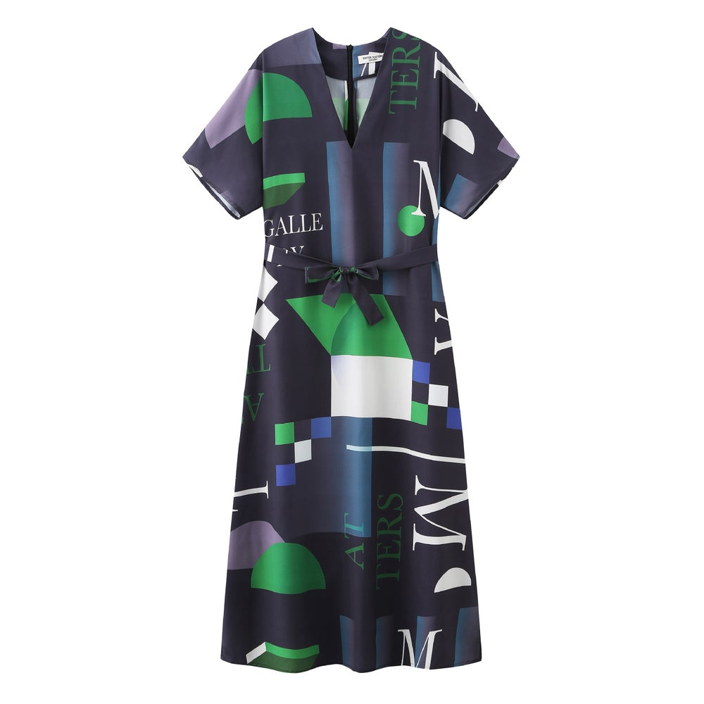 Short Sleeves V - Neck Dress with Pattern 'MOSS' in Navy