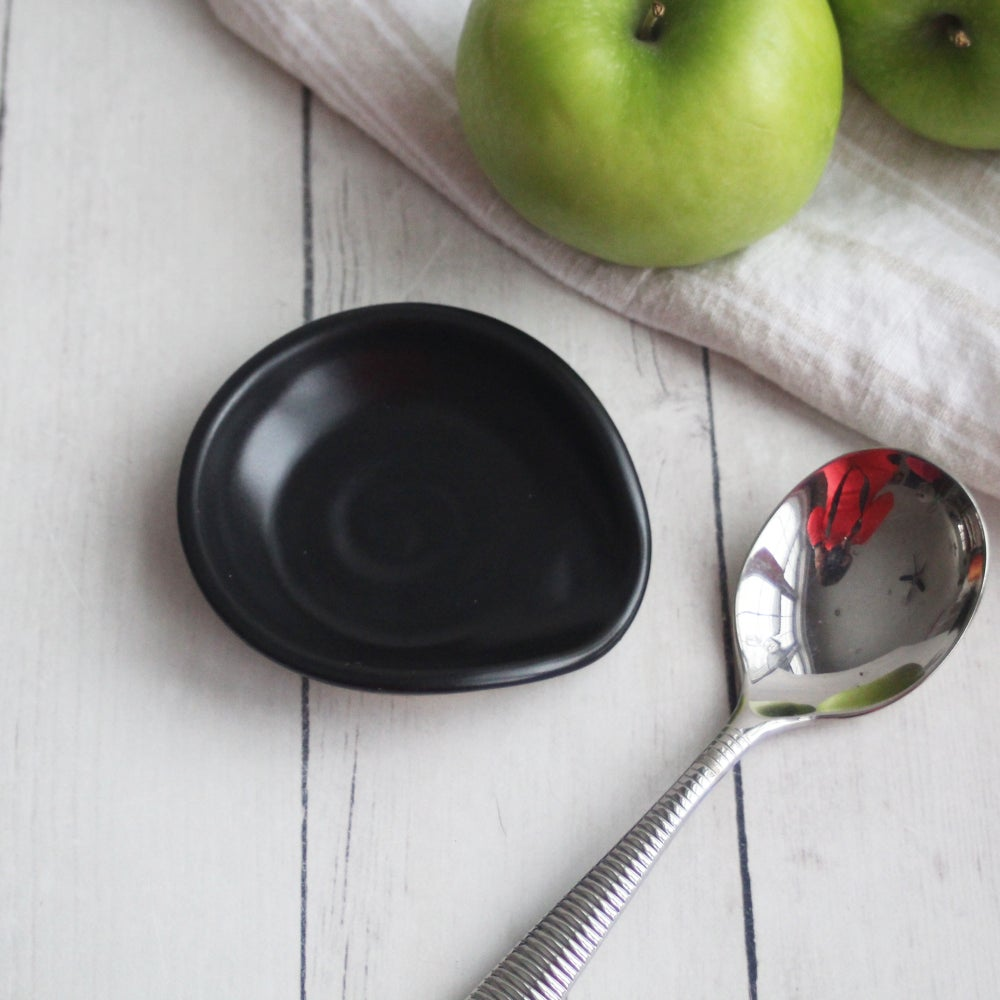 Image of Extra Small Spoon Rest, Satin Black Ceramic Spoon Holder for Your Coffee Station, Made in USA