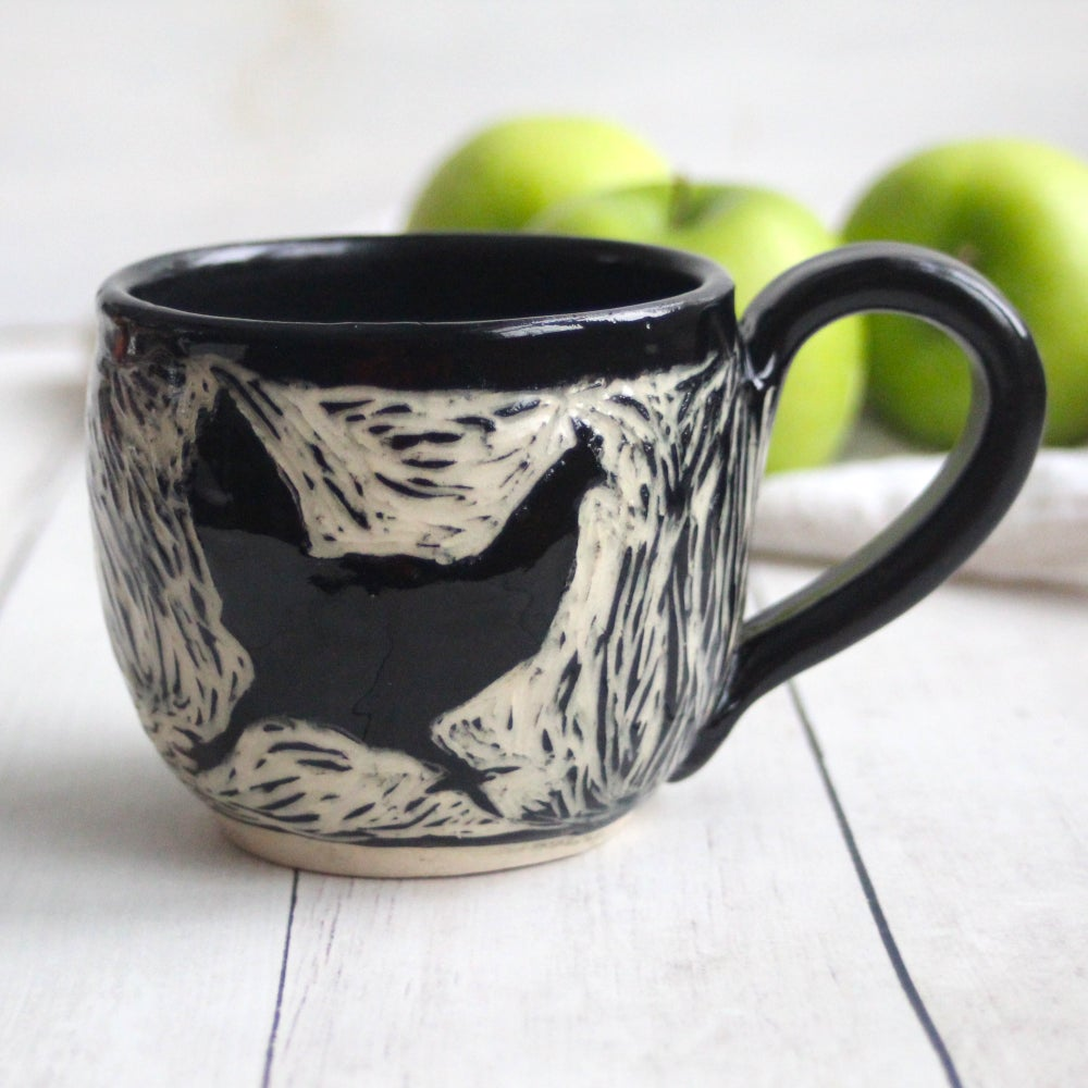 Image of Black and White Chickens Sgraffito Mug, Hand Carved Hens Coffee Cup, 12 oz., Made in USA