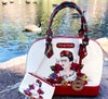 New! Red/Off White Satchel