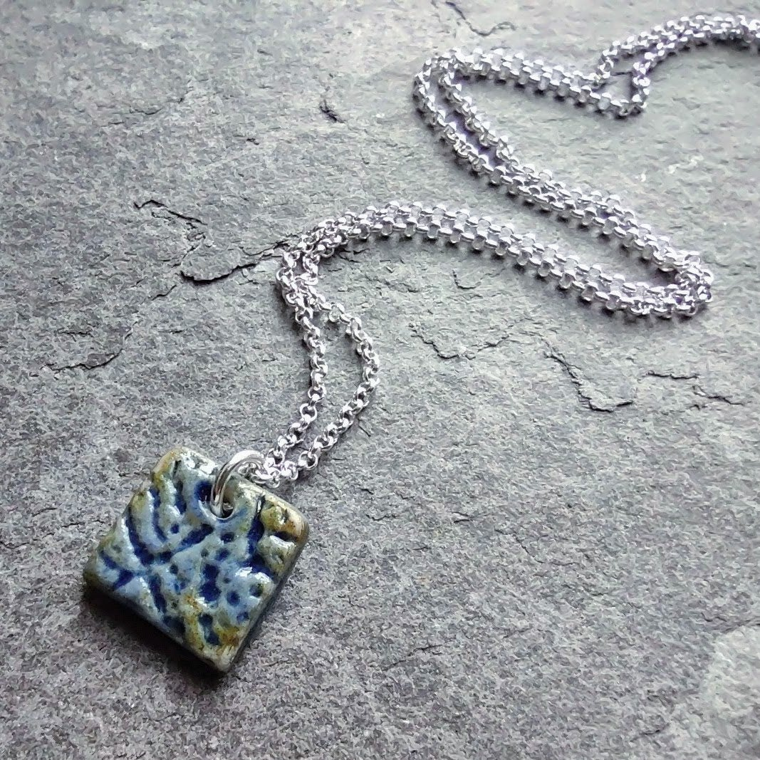 Textured blue square pendant