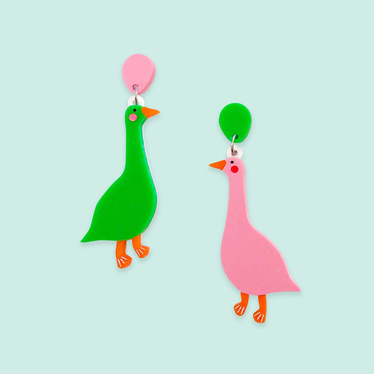 Image of Horatio & Harriet (Mismatch ~ Grass Green/Candy Pink)