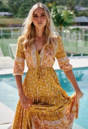 Image of Tangerine Print Tessa Maxi Dress. Jaase.