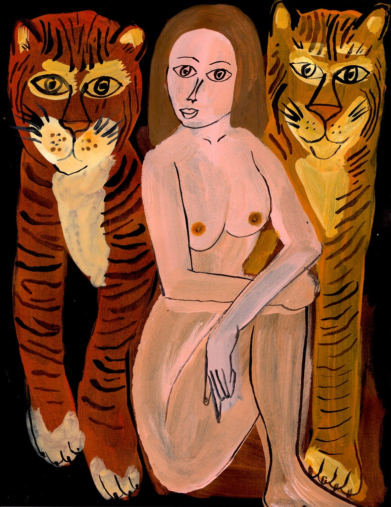 Image of Woman With Two Tigers 16x13 inches