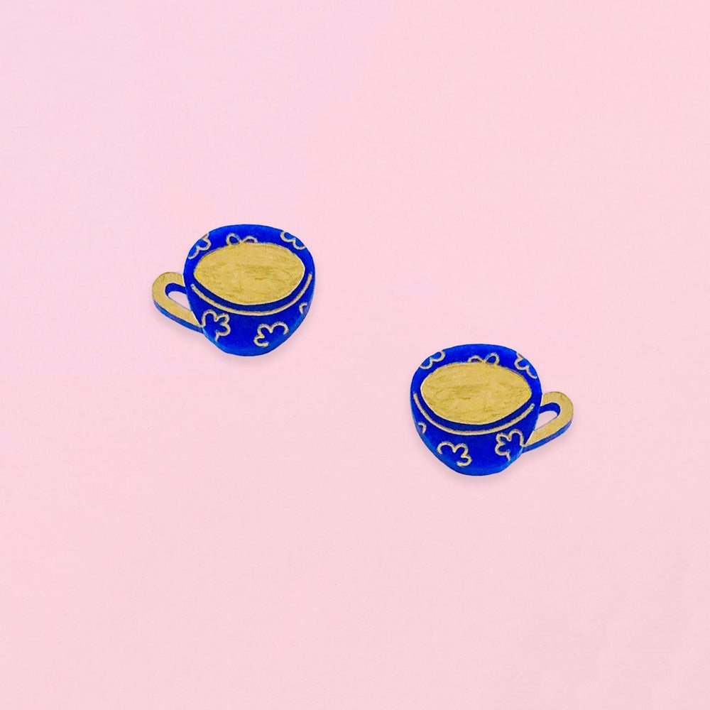 Image of Tea Cup Studs (Lapis Blue)