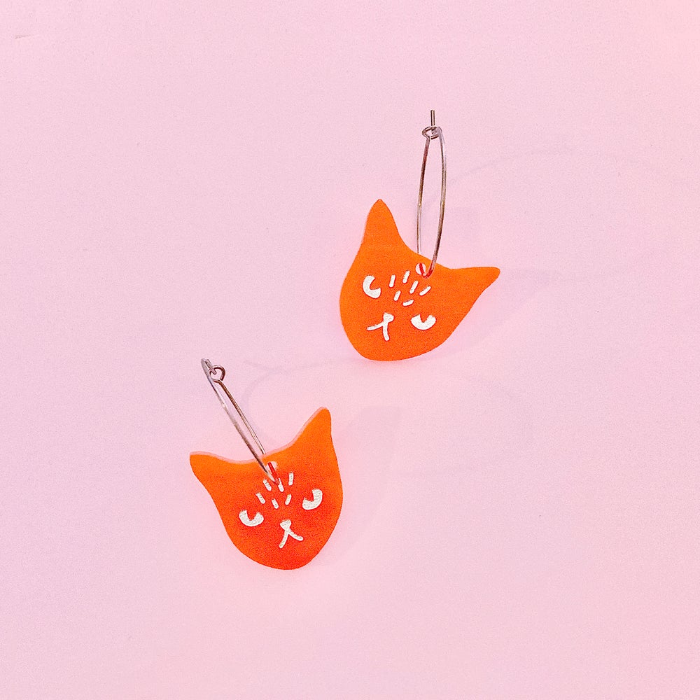 Image of Cat Face Hoops (Orange)