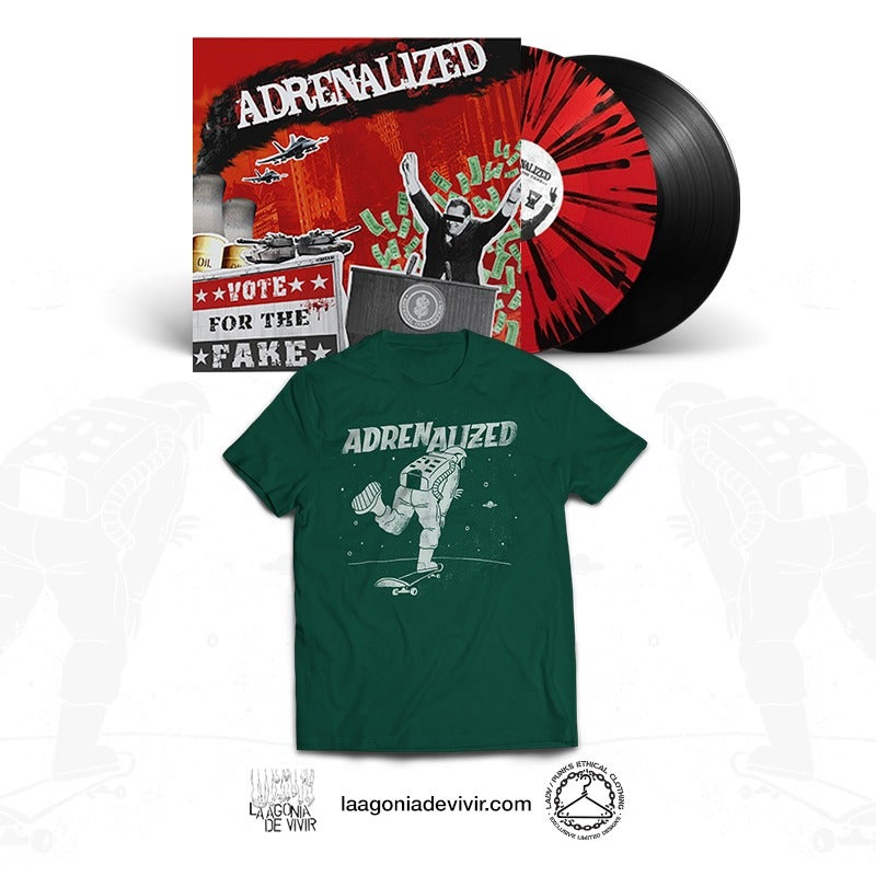 Image of PRE-ORDER NOW! ADRENALIZED Bundle (Vote for the Fake Lp + Space Skate Tshirt)
