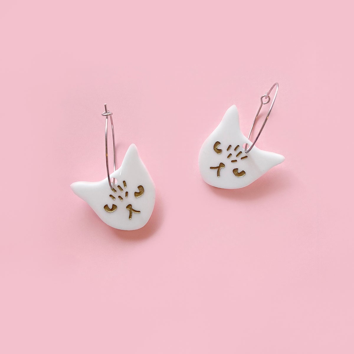 Image of Cat Face Hoops (White)