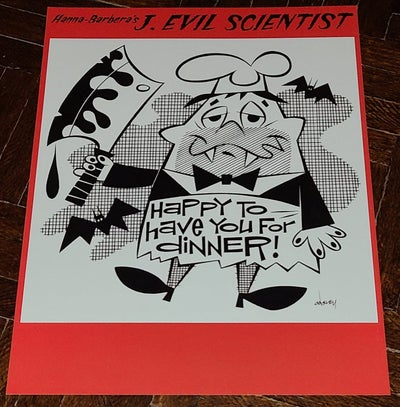 "Image of Hanna-Barbera's J. EVIL SCIENTIST! ""HAPPY TO HAVE YOU FOR DINNER!"" 8.5x11 PRINT"