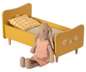 Image of Maileg - Wooden Bed Mini Yellow (Pre-order)