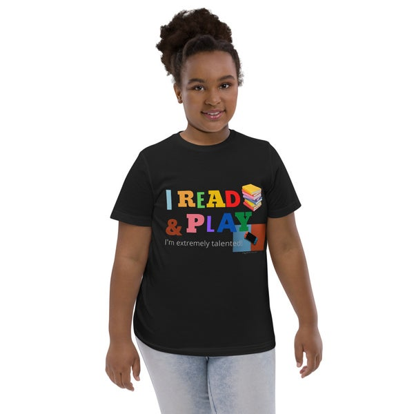 Image of I Read Books & Play Video Games Youth jersey t-shirt