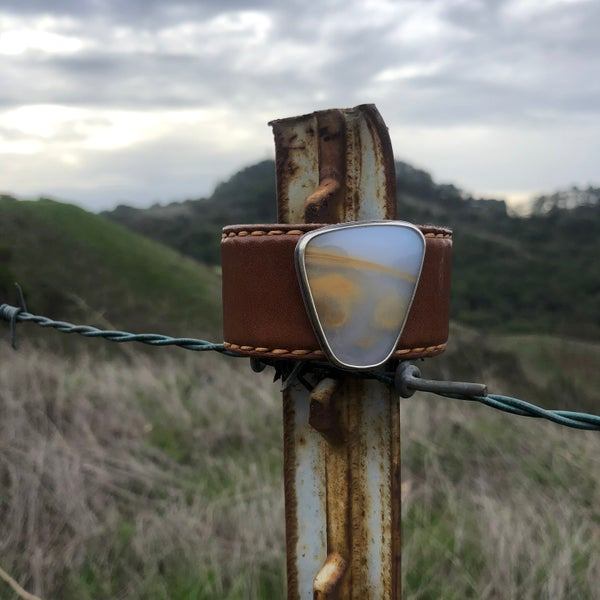 Image of Blue Chalcedony (triangle) Leather Cuff