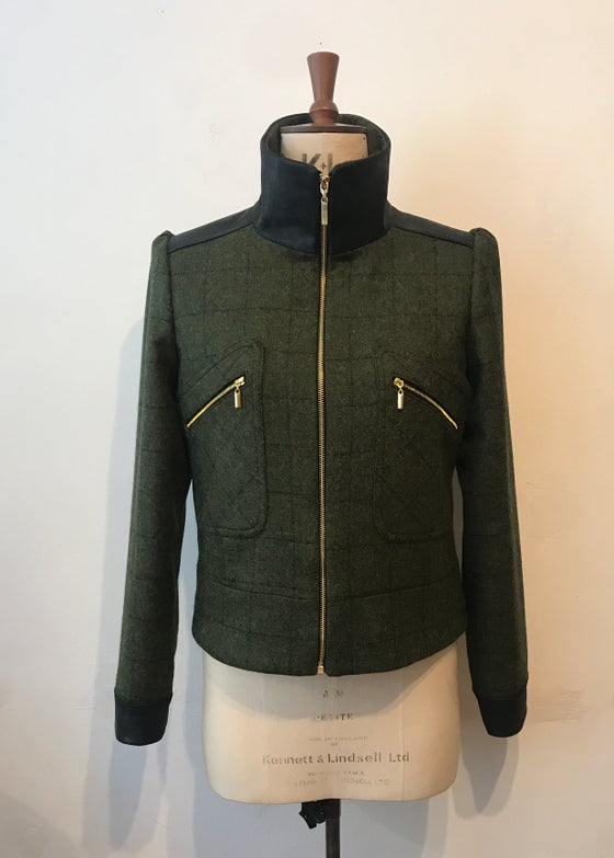 Image of Tweed and leather Marianne zip jacket