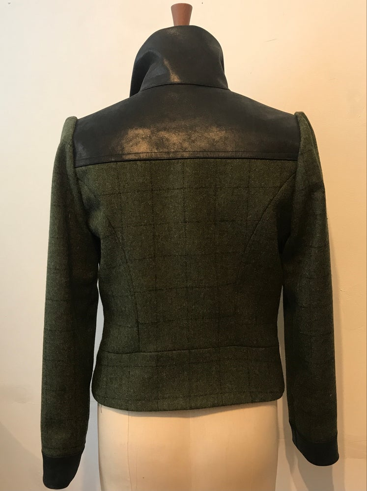 Image of Tweed and leather Marianne zip jacket