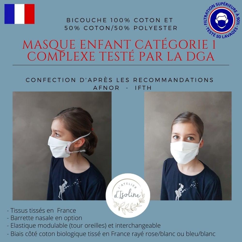 """Image of Masque Tissu Enfant  """"grand public filtration supérieure à 90%"""" de Catégorie 1 FRANCAIS"""