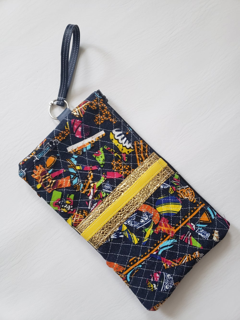 Image of Upcycled clutch with scrap fabric