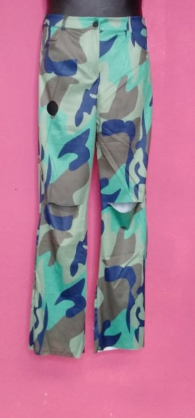 Image of REGULAR AND PLUS SIZE CAMO PRINTED BROKEN HOLE GREEN  PANTS