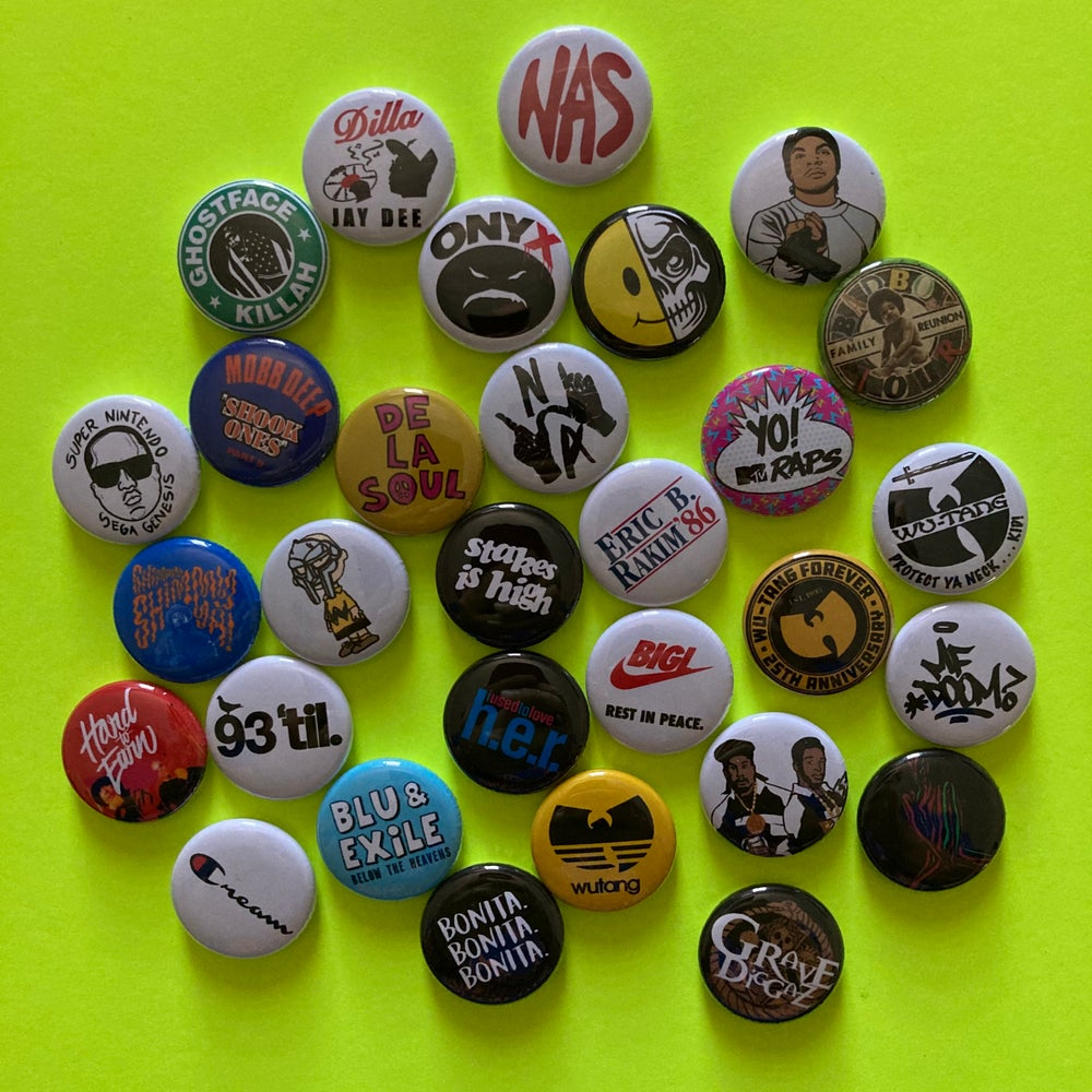 "Image of 10x Hip-Hop Nostalgia 1"" Pins!"