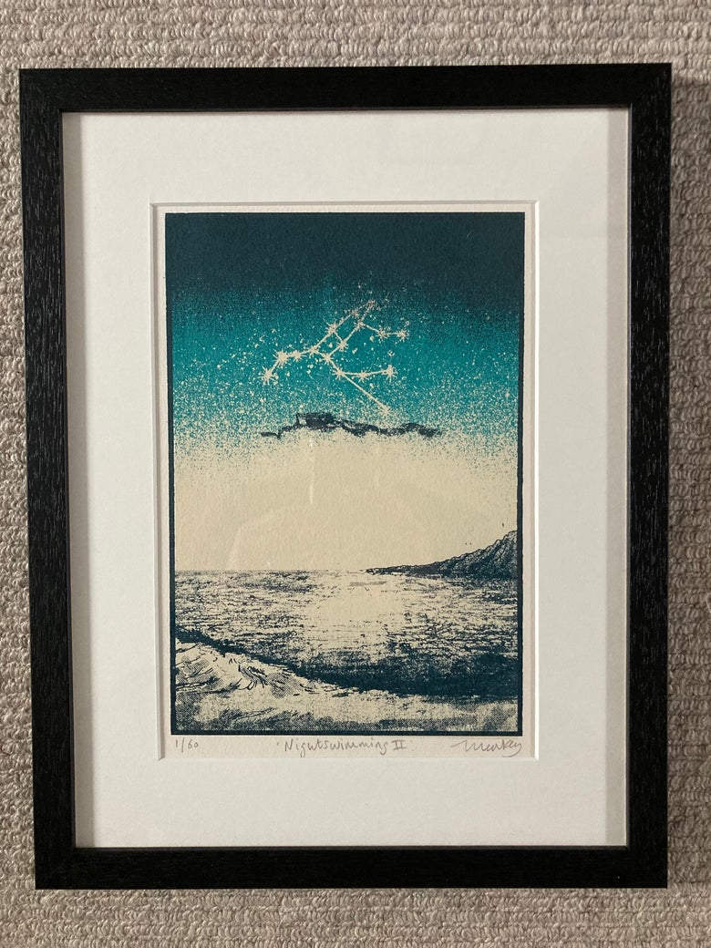 Image of Night Swimming II - Framed and Mounted Silk Screen Print