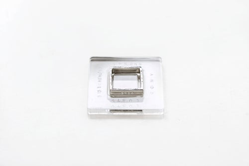 Image of square silver polished ring with inscription in Latin