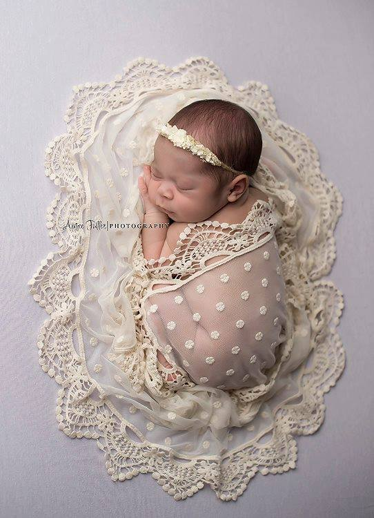 Image of Dotty vintage embroidery lace wrap