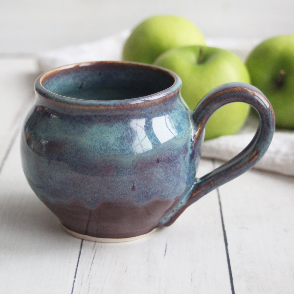 Image of Handmade Mug in Blue and Mauve Glazes, 14 ounce Pottery Coffee Cup, Made in USA