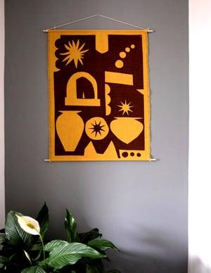 Linen Wall Hanging in Italy print - Ochre