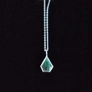 Image of Natural Emerald faceted cut silver neckace