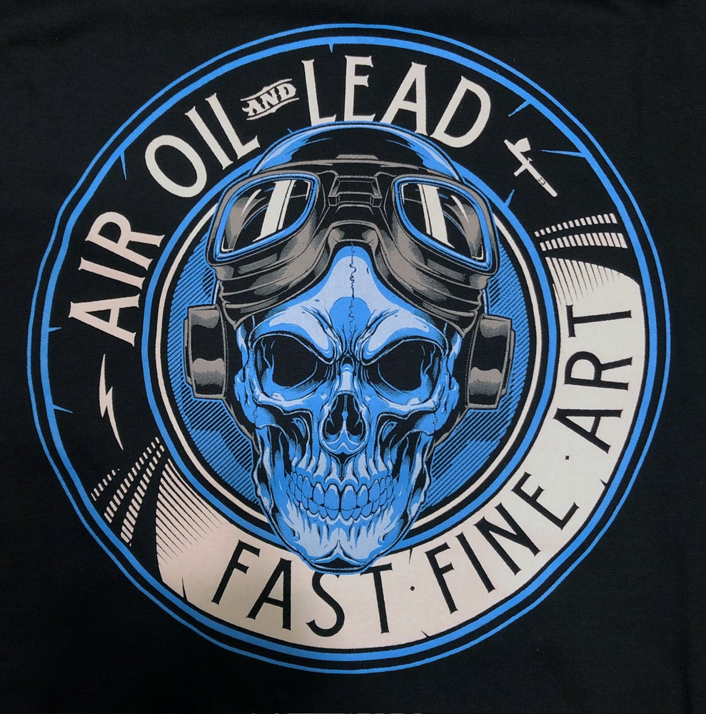 Image of Air Oil and Lead, Blue/Grey logo Tee