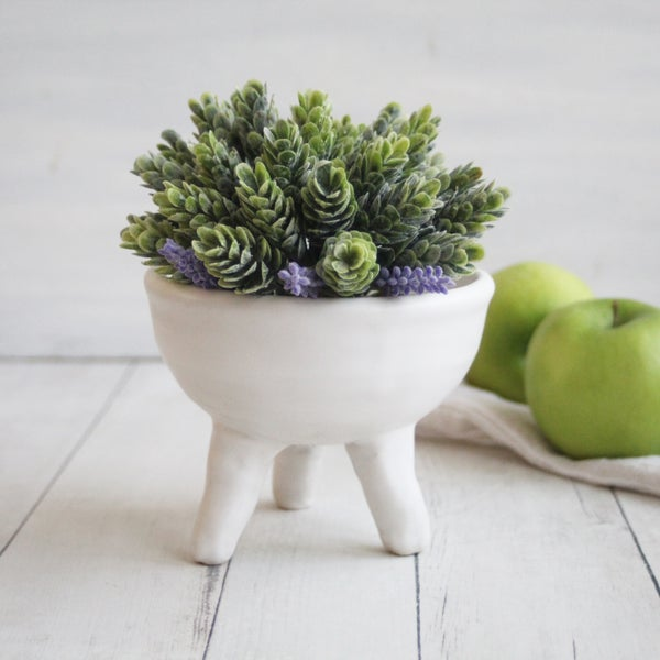 Image of Quirky Tripod Planter in Modern Matte White Glaze, Ceramic Pottery Flower Pot, Made in USA - 4