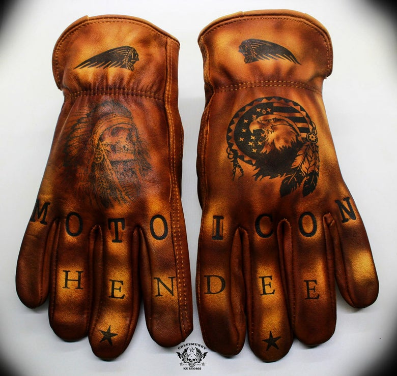Image of One off Indian Custom leather gloves
