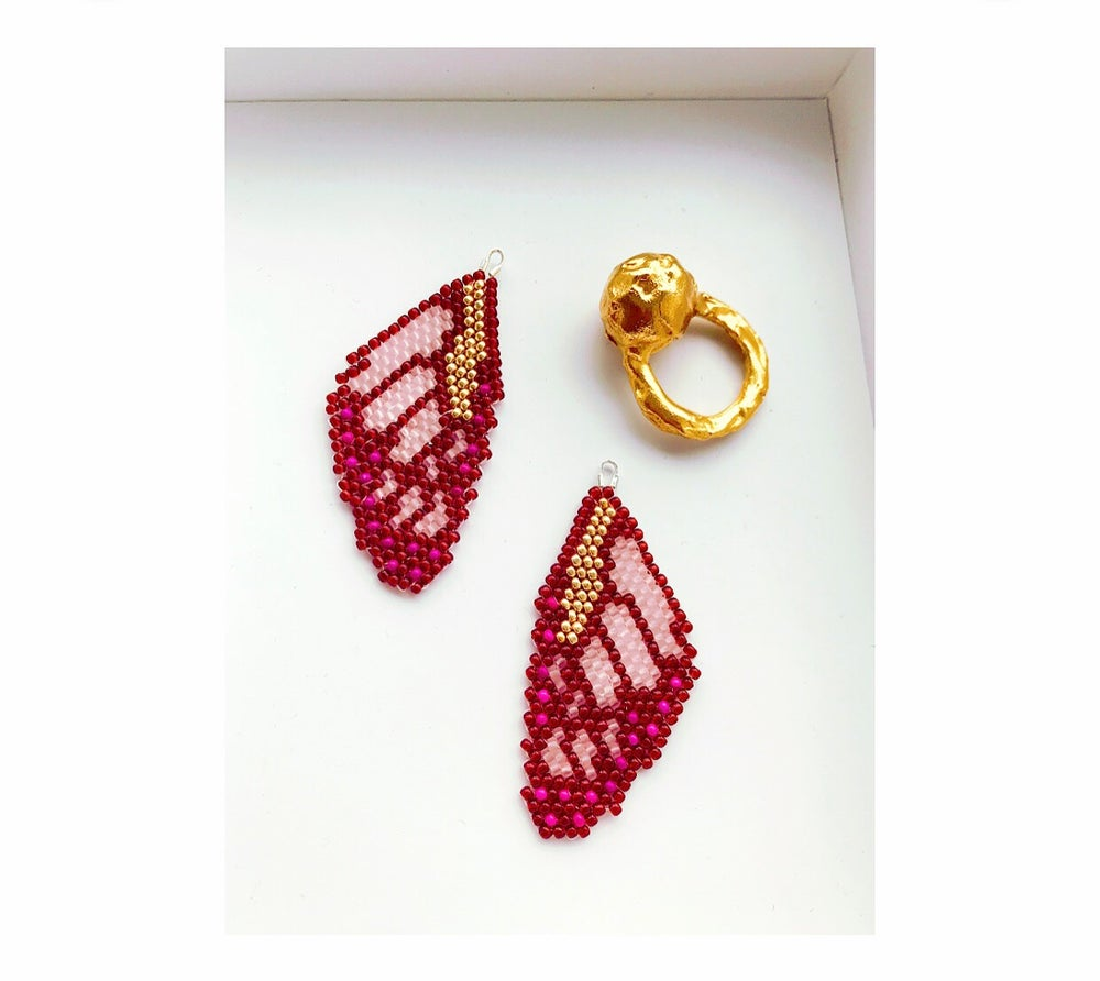 Image of Butterfly wings - Garnet, Pink & Gold
