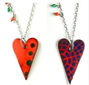 Reversible heart enamel necklaces