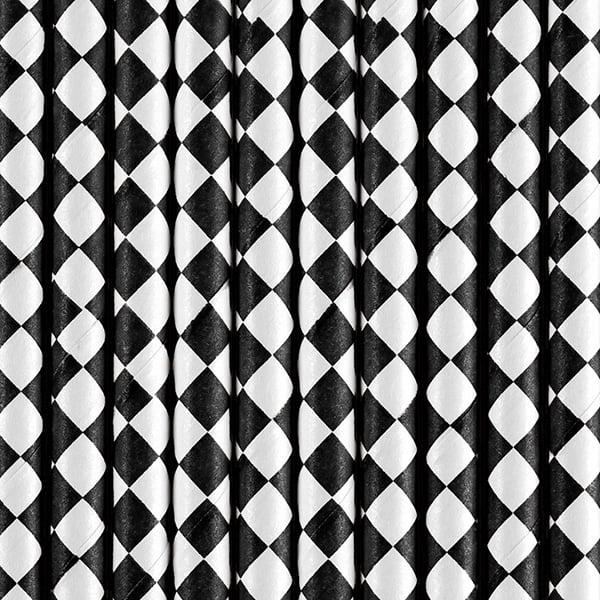 Image of Pajitas de papel rombos negro