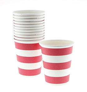Image of Vaso de pastel rayas rojas - 6 uds