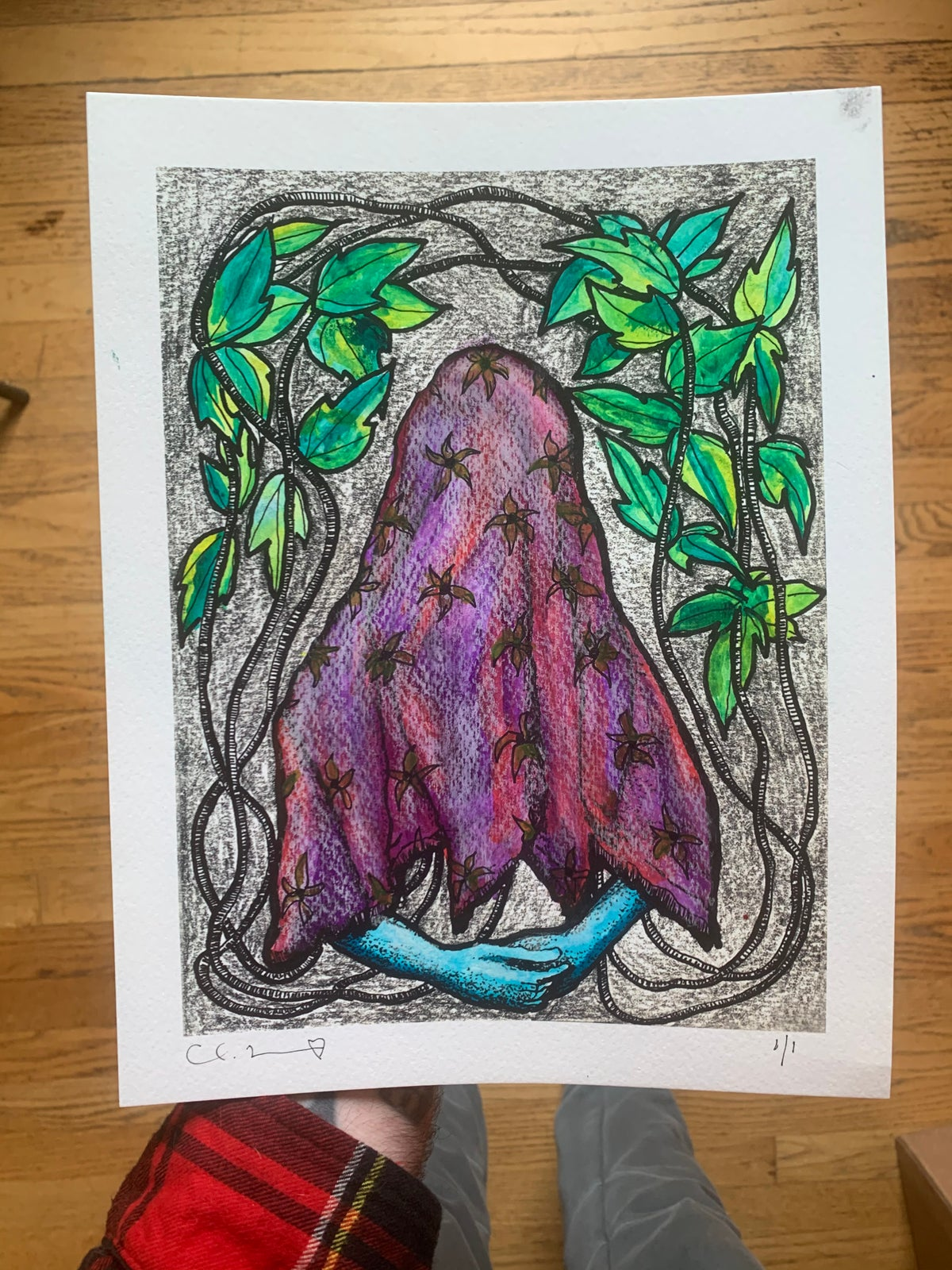 Image of 'Hopeful Ghost' with Hand Painted Watercolor Additions 1/1
